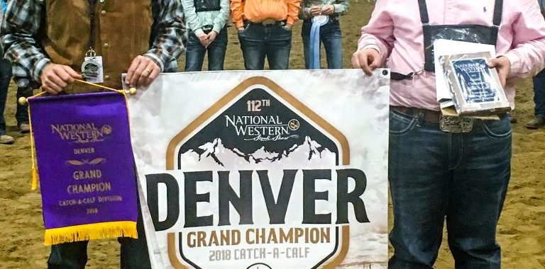 Kyle Despain winning catach-a-calf in Denver.
