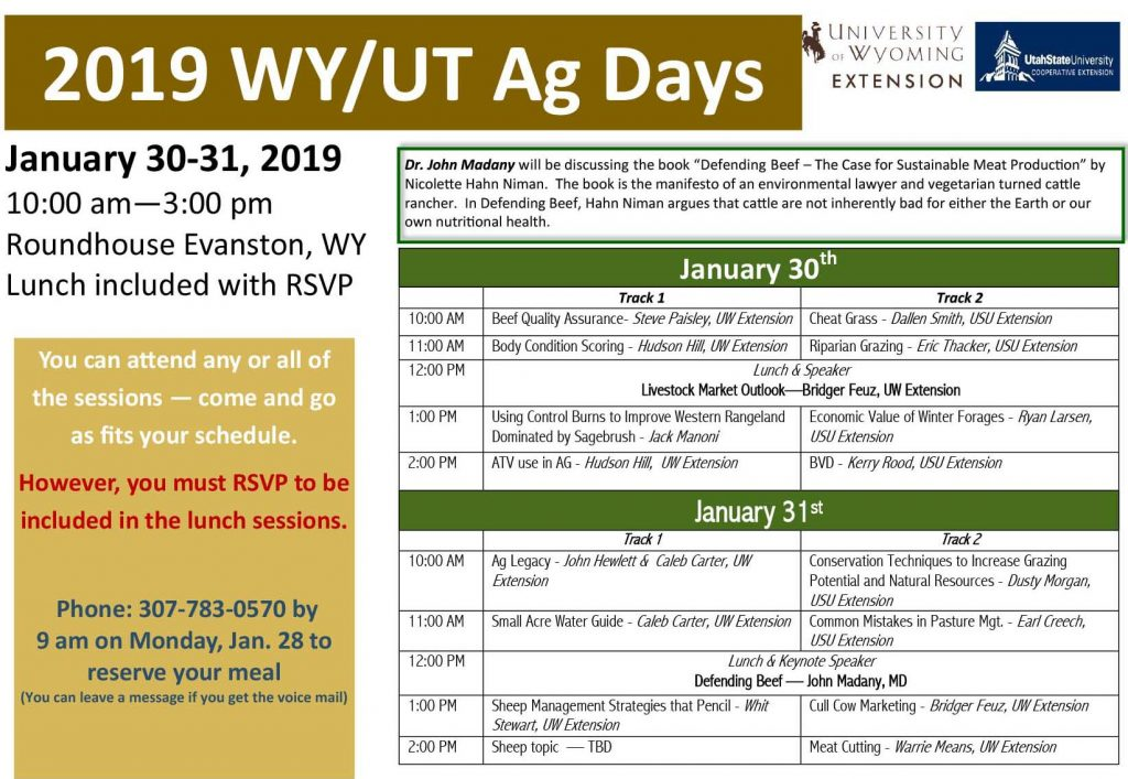 The Wyoming-Utah Ag Days schedule is displayed