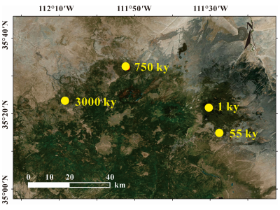 Ages of substrates in the San Francisco Volcanic Field.
