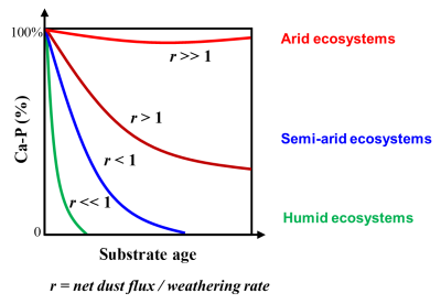 Graph showing the percentage of Ca-P in various ecosystems.