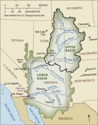 Map showing the Colorado Basin and the locations it is part of: Wyoming, Utah, Nevada, California, Mexico, Arizona, New Mexico, Colorado.