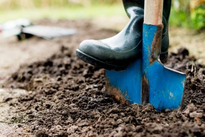 Blue shovel digging in the dirt.
