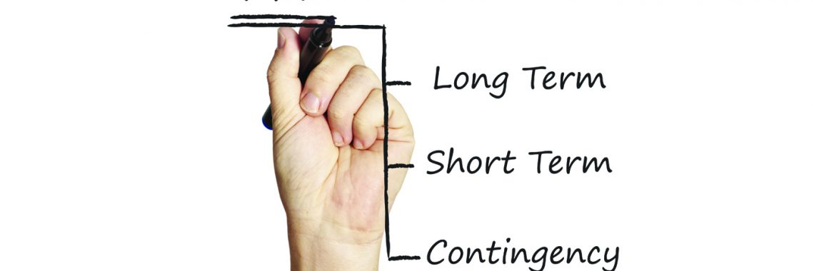 hand writing plan, long-term, short-term, and contingency