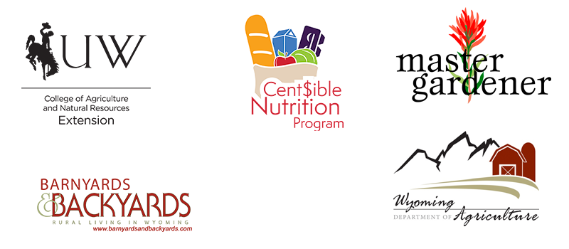 Logos of UW Extension, Cent$ible Nutrition Program, Master Gardener program, Barnyards & Backyards magazine, and Wyoming Department of Agriculture