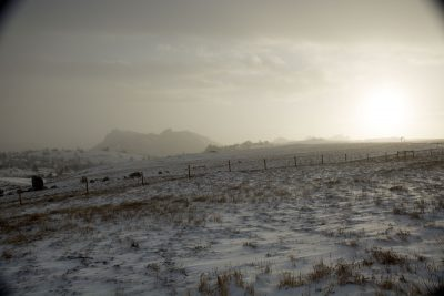 Photograph of snow on range