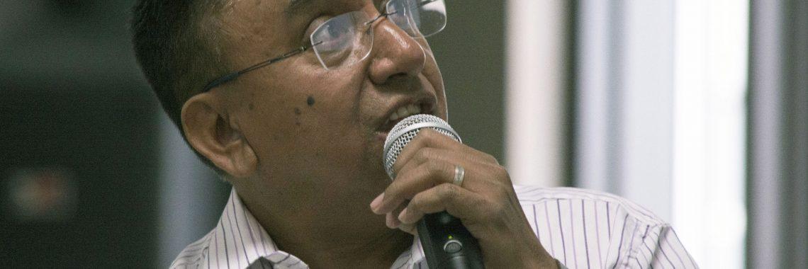 Man holding microphone