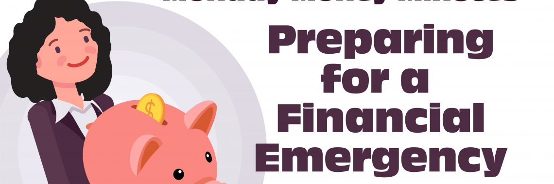 Preparing for a financial emergency. Michelle holding an oversized piggy bank.