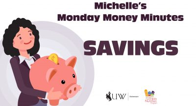 Savings with Michelle holding an oversized piggy bank