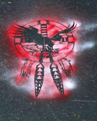 Traditional Native image representating St. Stephens School