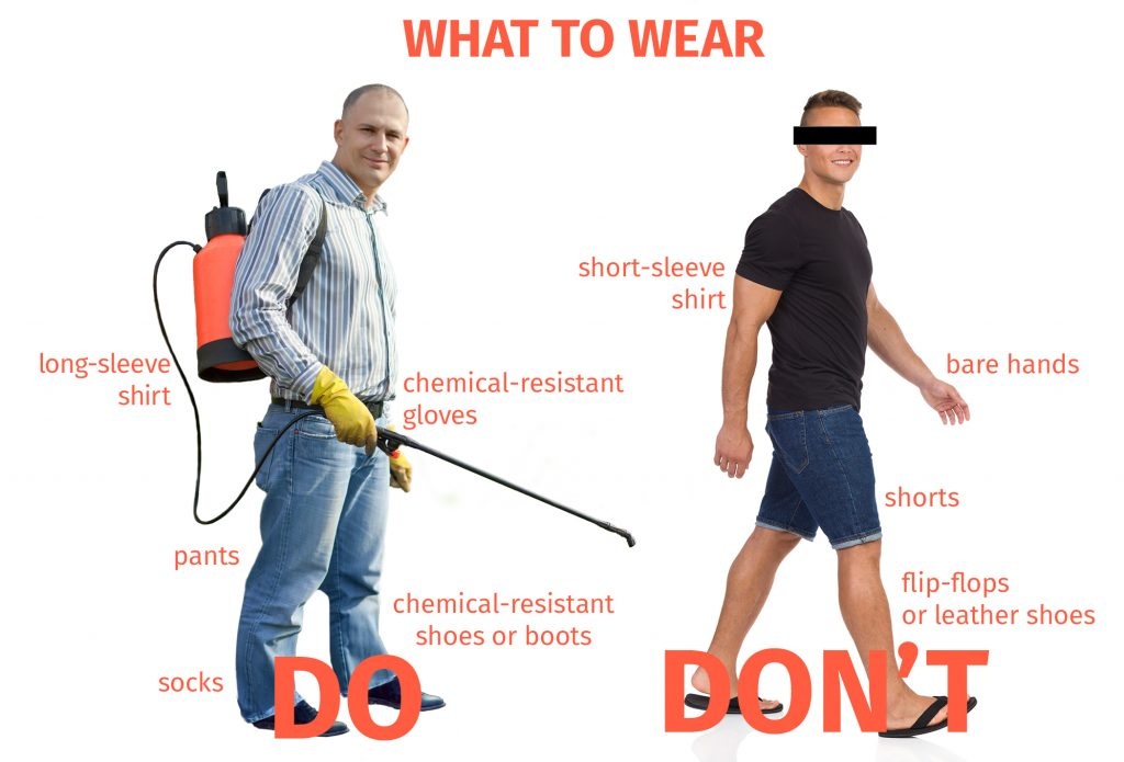 Examples of what to wear while applying pesticides