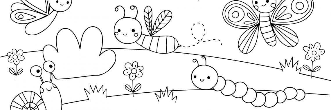 coloring page with happy insects